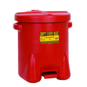 Poly Oily Waste Can, 14 Gallon, Hands-Free Operation, Self Close, Red