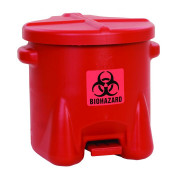 Biohazardous Poly Waste Can, 10 Gallon, Foot-Operated, Red