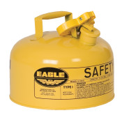 Type I Steel Safety Can For Diesel, 2 Gallon, Flame Arrester, Yellow