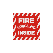 "Fire Extinguisher Inside -Self Adhesive 4""x 4"""