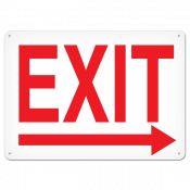 "Exit Right (10"" x 14"") Self adhesive"