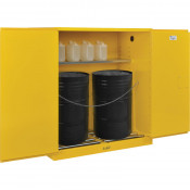 "Nosredna 110 Gal Drum Storage Safety Cabinet-Manual Close w/ Rollers 65"" X 59"" x 34"" FM Approved"