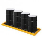 """30 Gal 4-Drum In-Line SpillNEST w 2  HDPE Grates, 32.25"""" x 107.75""""-Yellow"""