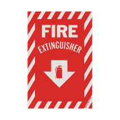 "Fire Extinguisher Arrow Sign -Self Adhesive 8"" x 12"""