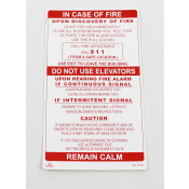 IN CASE OF FIRE TWO STAGE ALARM SIGN