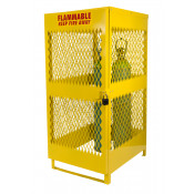 10 Cylinder Compressed Gas Cylinder Storage Locker 72 x 31 x 42 Yellow
