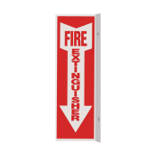 "Fire Extinguisher Arrow Sign -Rigid Plastic 4"" x 12"" - Double Sided Perpendicular wall mount"