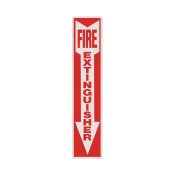 "Fire Extinguisher Arrow Sign -Rigid Plastic 4"" x 18"""