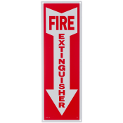"Fire Extinguisher Arrow Sign -Rigid Plastic 4"" x 12"""