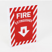 "Fire Extinguisher Arrow Sign -Rigid Plastic ""8 x12"" - Double Sided Perpendicular wall mount"