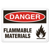 "DANGER Flammable Materials (7""x10"") Self Adhesive"