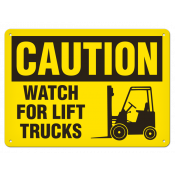 """CAUTION Watch for Lift Truck (10""""x14"""") Self Adhesive"""