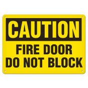 """CAUTION Fire Door (10""""x14"""") Self Adhesive"""