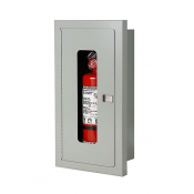 5LB SEMI-RECESSED EXTINGUISHER CABINET-STAINLESS STEEL - FIRE RATED 8x17x5
