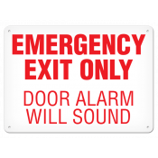 "Emergency Exit Only Alarm (7""x10"") Self Adhesive"