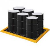 "45 Gal 6-Drum SpillNEST with 3  HDPE Grates, 57.5"" x 83""-Yellow"