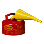 Type I Steel Safety Can For Flammables, 1 Gallon, W/Funnel, Flame Arrester, Red