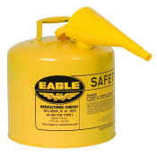 Type I Steel Safety Can For Diesel, 5 Gallon, With Funnel, Flame Arrester, Yellow