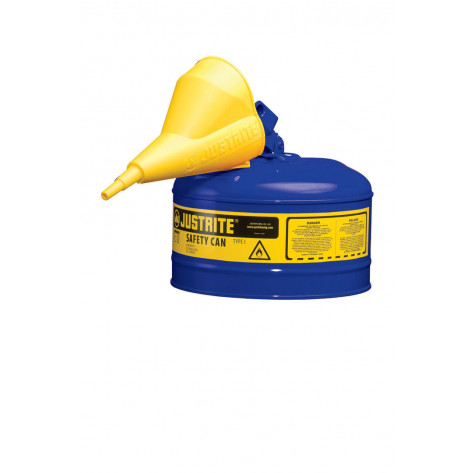 Type I Steel Safety Can for flammables, Funnel 11202Y, 2.5 gallon, S/S flame arrester, s/c lid, Blue.