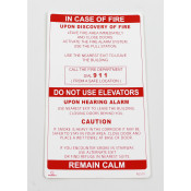 IN CASE OF FIRE SINGLE STAGE ALARM SIGN